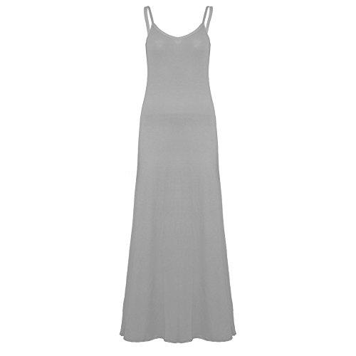 Pure Fashion Damen Maxikleid Ärmellos Mehrfarbig Grey - Fashion Stylish Casual Jersey