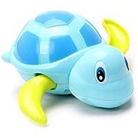 DDG EDMMS 3Pcs jouets de bain pour bébés enfants piscine joli flotter jouet eau du bain de la chaîne d'enroulement des animaux de tortue balle baignoire jouet (bleu, jaune, vert)