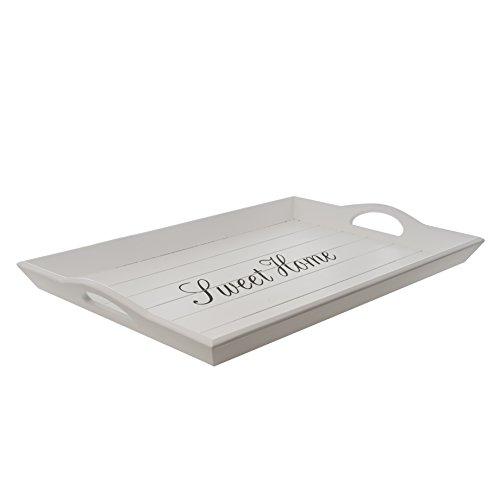 (elbmöbel 52 x 35cm Holz-Tablett in weiß rechteckig, Sweet Home Aufdruck, Griffe und erhöhter Rand)