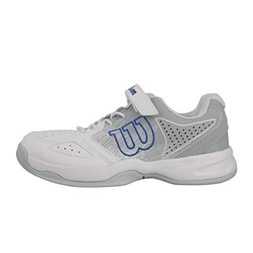 Wilson Kaos K, Scarpe da Tennis Unisex-Bambini, Bianco Chiaro/Blu, 33 EU
