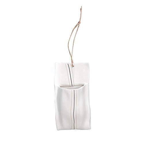 Recipientes para plantas y accesorio Macetas montadas en la pared, innovadora maceta de cerámica hidropónica blanca Plantadora de contenedores de plantas no porosas con cuerda for colgar en interiores