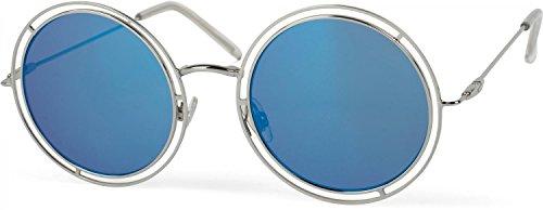 styleBREAKER Sonnenbrille verspiegelt mit runden, flachen Gläsern und doppelter Umrandung, Unisex 09020067, Farbe:Gestell Silber/Glas Blau verspiegelt