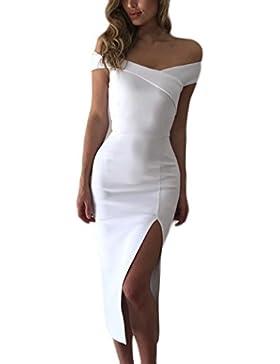 Donna Estivi Eleganti Abito Da Sera Spacco Solido Slinky V Scollo Lunga  Manica Corta Donne Vestiti 355538248a9