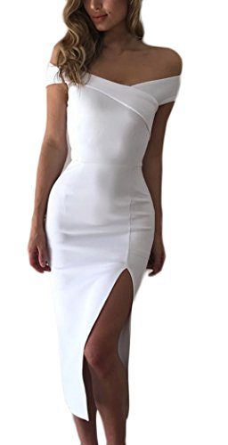 competitive price 6f1d3 f1bba Donna Estivi Eleganti Abito Da Sera Spacco Solido Slinky V Scollo Lunga  Manica Corta Donne Vestiti Da Cerimonia Coctel Elegante Vestito Vestitini  (S, ...