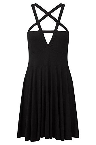 Moda Mujer Vestido gótico Vintage romántico Casual Vestido sin cinturón - Negro -