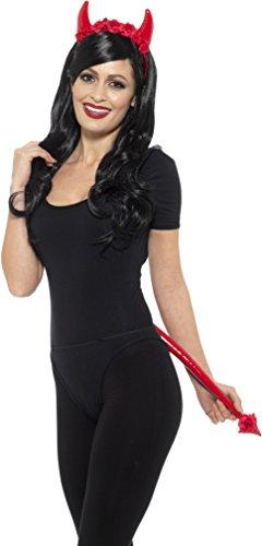 Smiffys Damen Deluxe Teufel Set, Nasser Look, Haarreif mit Blumen und Schwanz, One Size, Rot, 45038