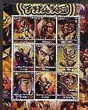 Congo 2002 X-Men - Titans #2 perf sheet set of 9 values u/m ENTERTAINMENTS FILMS CINEMA COMICS FANTASY SCI-FI JANDRSTAMPS