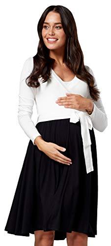Happy Mama Damen Mutterschaft Muster Skater Band Taille Kleid V- Ausschnitt 551p (Off White & Black, EU 44, 2XL)