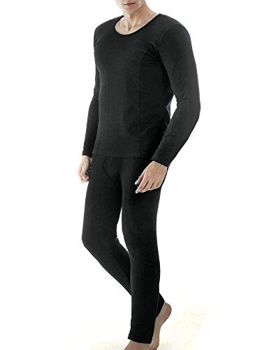 ADOME Herren Fleece Gefüttert Thermounterwäsche Flauschig Garnitur Winter Basic Unterwäsche Set Nachtwäsche Hemd und Hose (EU 42(Herstellergröße: XL), Schwarz 372)