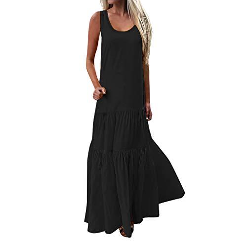 Sommer Kleid Kleider Sommerkleid Damen Schwarz Sexy Maxi Lang Bandeau Vintage Elegant Boho Gothic Petticoat Schickes A Linien Swing Lockeres -
