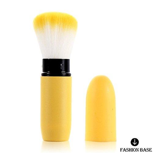 Fashion Base® visage Pinceaux Poudre Fond de Teint Contour Blush Brosse Concealer Jaune Outil de maquillage professionnel souple