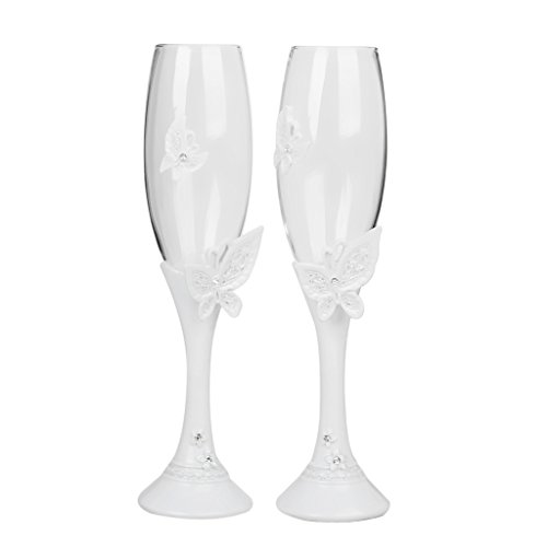 Preisvergleich Produktbild Schmetterling Design Hochzeit Glas Glasgeschirr Toasten Champagner Flutes Einstellen