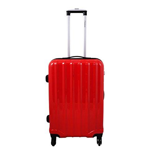 1 Koffer Hartschale Größe L 3D Struktur Farbe rot Polycarbonat Trendyshop365