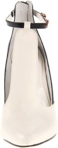 BCBG Max Azria Measure Femmes Cuir Mary Jane Talons Winter White-Black
