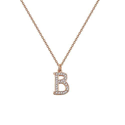 er Halskette, Zirkon Anhänger,Zirkonia Initial Halskette Charme Elegante Anhänger Brief Halsketten Silber Hip Hop Schmuck Frauen Weiß Cz Alphabet Halskette ()