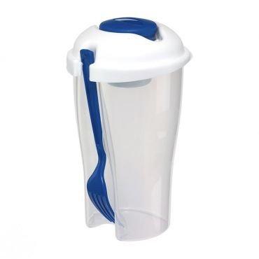 Preisvergleich Produktbild Salatbecher Blau 850ml mit Gabel integrierter Becher 70ml für Spülmaschine