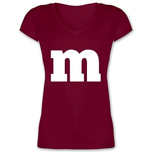 Karneval & Fasching - Gruppen-Kostüm m Aufdruck - XL - Bordeauxrot - XO1525 - Damen T-Shirt mit ()
