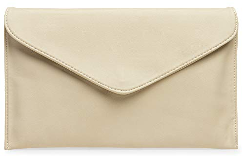 CASPAR TA310 Damen Envelope Clutch, Farbe:beige - Beige Stoff Handtaschen