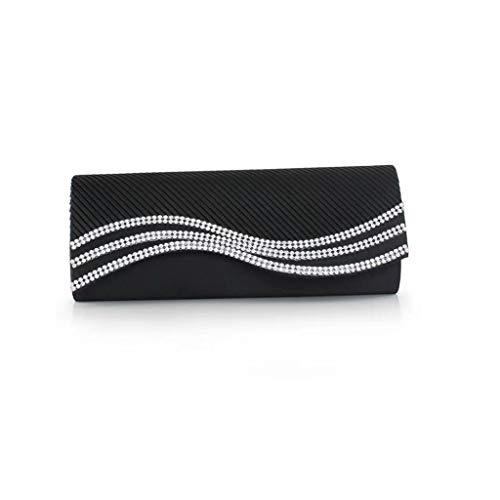 Zhna pochette da sera rettangolare elegante da donna con decorazione in strass for matrimoni (color : black)