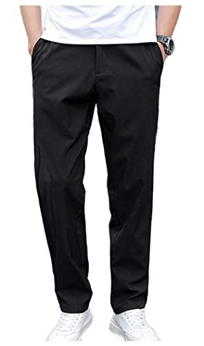 CuteRose Mens Winter Loose Casual Plus Size Outdoor Lounge Trousers Black L