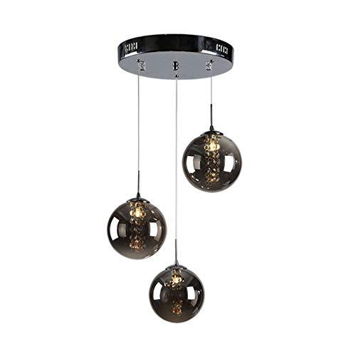 Lámpara colgante LED moderna de cristal Bola Lámpara Pantalla de Iluminación colgante Techo romántico Lámpara colgante para la isla de la cocina Pasillos caseros G14 Bombillas 3 luces, Gris oscuro