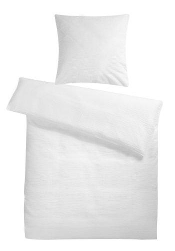Carpe Sonno leichte super weiche Seersucker Bettwäsche Weiß Uni 135 x 200 cm - Kühle Sommer-Bettbezüge ohne Muster aus 100{e579c0b96f215bc18b627da2d900b59d71cc4eb32737abbc2a5a0b8484e80503} gekämmter Baumwolle - Modern einfarbig bügelfrei Bettwaren-Garnitur