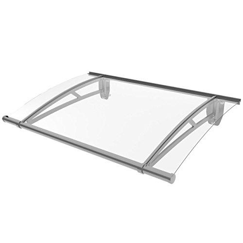 Homelux Türüberdachung Haustürvordach Pultvordach Aluminium 120 cm x 80 cm Grau