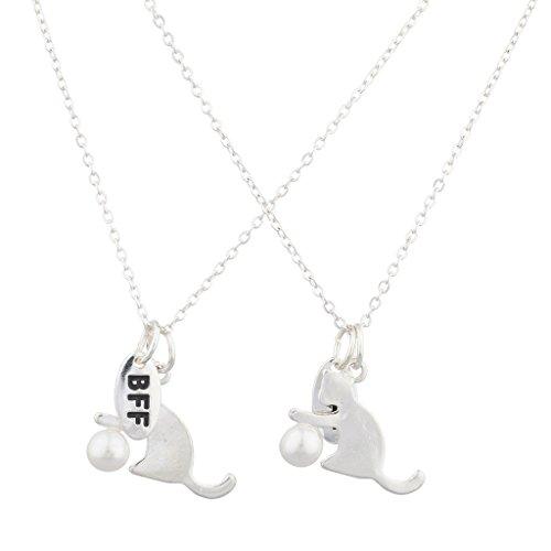 LUX Zubehör Silber Ton Katze und Pearl BFF Best Friends Halskette Set (2)