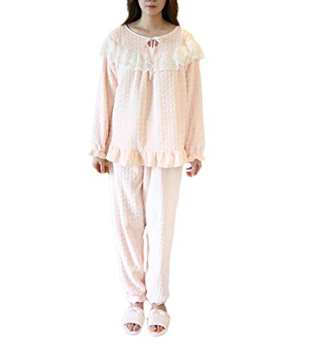 Damen Langarm Pyjamas Set Warm Flanell Luxus Wesentlich Pyjamas Pink Fashion Pyjamas Top Schlafanzug Negligee Herbst Winter (Color : Pink, Size : XL)
