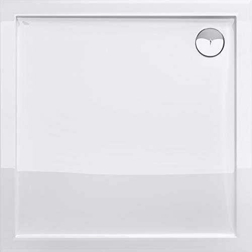 Sogood Duschtasse Duschwanne Faro1W 100x100x4 flach aus Acryl in Weiß Quadratisch DIN-Anschlüsse für bodenebene Montage geeignet