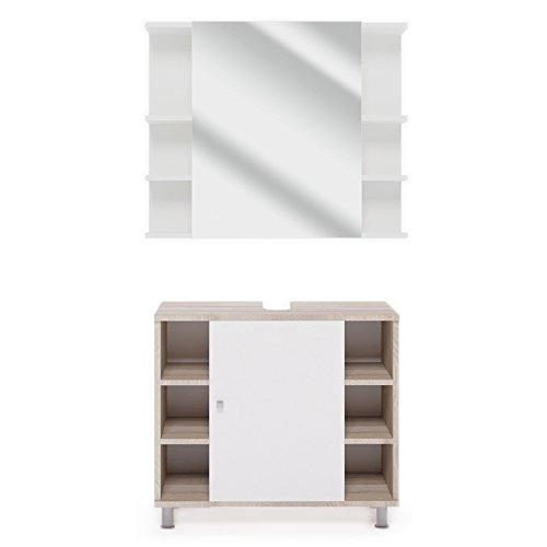 VICCO Badmöbel Set Badezimmermöbel FYNN Spiegel + Unterschrank + Midischrank + Hochschrank (Set 1, Eiche Sonoma)
