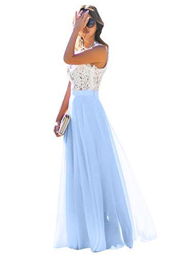 Chiffon Hochzeit Brautjungfer Abend Party Maxi Kleid Blau XS ()