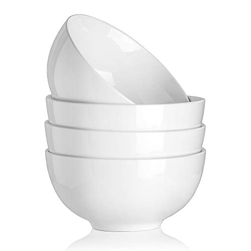 MALACASA, Serie Regular, 4er Set 7'/18 * 18 * 9/1250ml Cremeweiß Porzellan Schale Schüssel Salatchüssel Müslischale Suppenschale Nudelschale