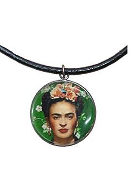 Pendentif en acier inoxydable, 30 mm, cordon en cuir, fait à la main, illustration Frida Feminist