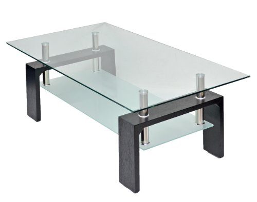 ts-ideen - Mesa auxiliar (cristal y madera, 120x65cm), color neg