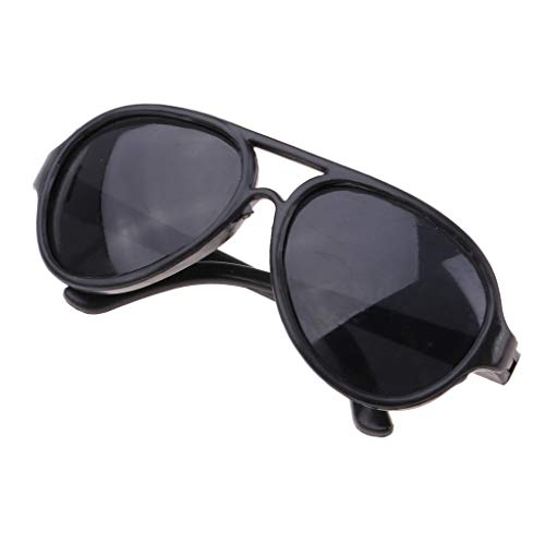 FLAMEER 1 Paar Miniatur Oval Brillen Sonnenbrillen Eyewear Eyeglasses für 25cm Mellchan Puppen - Schwarz