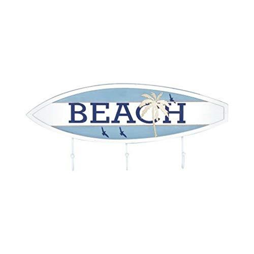 Adornos y Muebles Auxiliares Regalos Originales Percheros 17.5 x 40 x 4 cm. CAPRILO Decoraci/ón Hogar Percha de Pared Decorativa Marinera de Madera 3 Ganchos Tabla Surf Beach