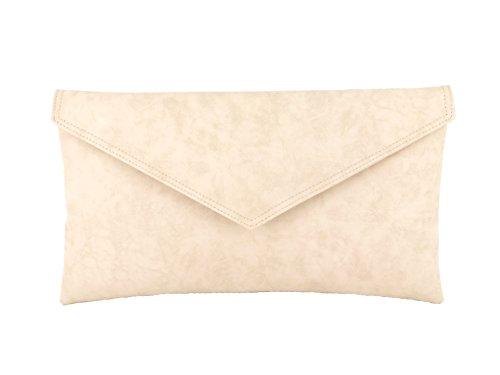 Bolsa bolso de mano compartimento envolvente bolsa de hombro metálicos Faux Piel