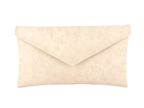 Sac À Main Pochette Enveloppe Sac d'epaule Metallique Faux Cuir Nude Pink Beige