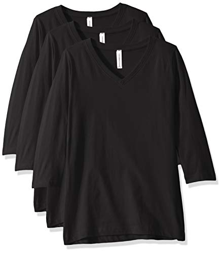 AquaGuard Damen Combed Ringspun V-Neck 3/4-Sleeve 3 Pack T-Shirt, schwarz, Klein -