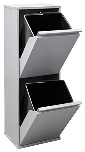 Arregui Basic Cubo de Basura y Reciclaje de Acero de 2 Compartimentos, Gris Claro, 90,5 x 30,5 x 24,5...