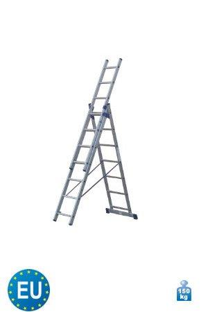 3-teilige Aluminium Mehrzweck und Kombileiter 3 x 7 Stufen
