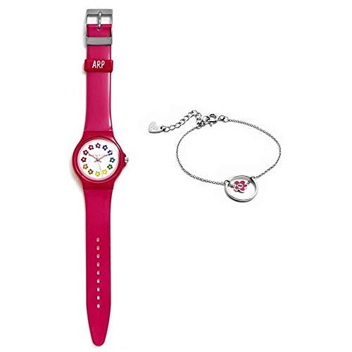 Set Agatha Ruiz de la Prada Agr247 Dark Pink-Armband-Uhr-Silber-Emaille-Blumen Rose Law Aro 925m - Modell: Agr247