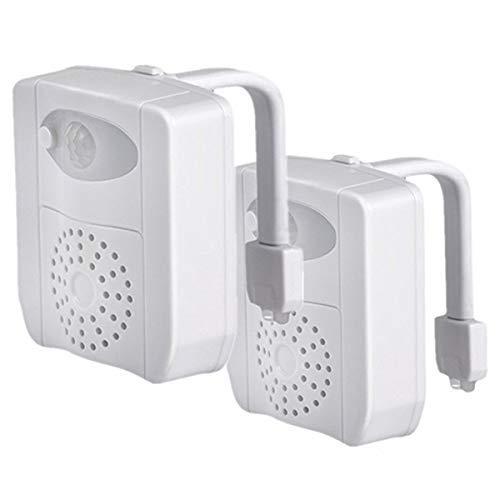 2 Pc 16 colores UV Sanitizer WC luz de noche, Sensor de movimiento activado LED Lamp, Divertido baño Iluminación añadir en el cuenco brillante asiento con aromaterapia Ambientador Novedad regalos