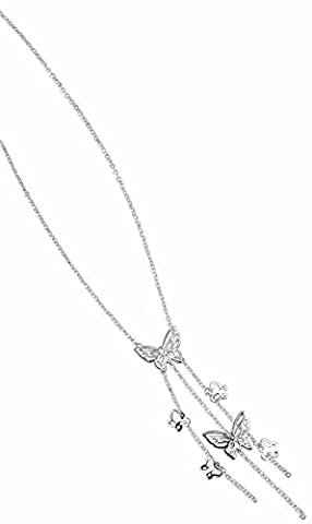Elements Silver N862 Multiple Drop Charms and Butterfly Sterling Silver Necklace