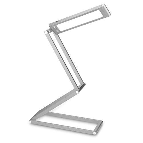 2-licht-wand-tasche (kwmobile LED Aluminium Tischlampe mit Schwenkkopf - Akku Leselampe faltbar mit Micro USB Ladekabel - Alu Schreibtischlampe Faltlampe in Silber)