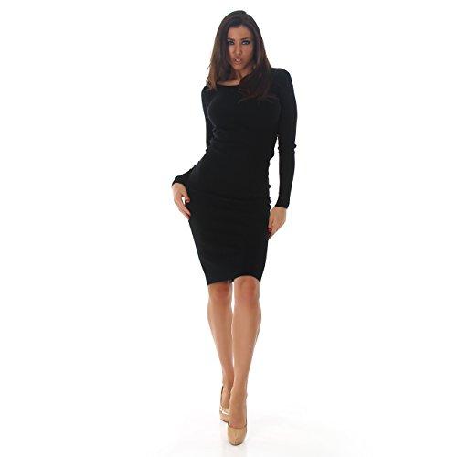 Damen Basic Langarm-Kleid Rundhalsausschnitt I Longsleeve I Strick-Kleid Übergang I verschiedene Farben I Einheitsgröße (32-38) Schwarz