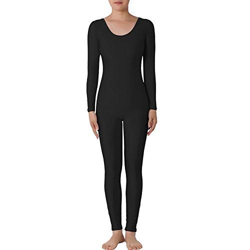 Muka Catsuit / Bodysuit, Rundhalsausschnitt, mit langen Ärmeln, Lycra, Zentai, Tanzkleidung Gr. L, Schwarz ()