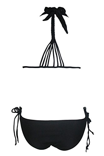 Damen New Pink multi-tie Design Strappy Bikini Neckholder Badeanzug Größen 8–14 Schwarz