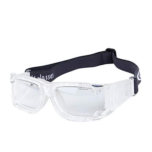 EDtara Geschenke für Damen & Herren,Schutzbrille -Augenschutz, Männer Frauen,Sport-Augenschutzbrille Halbrahmen-PC-Objektivbrille für Fußball im Freien Golf Transparentes Weiß
